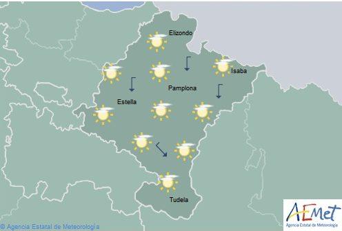 En aumento la nubosidad alta en Navarra, temperaturas con pocos cambios
