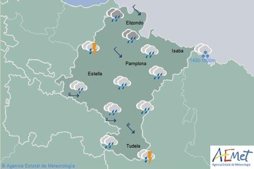 En Navarra lluvias y chubascos con tormentas ocasionales