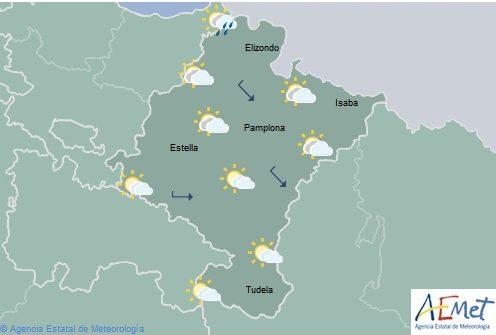 En Navarra nuboso o cubierto con lluvias y chubascos con temperaturas máximas sin cambios