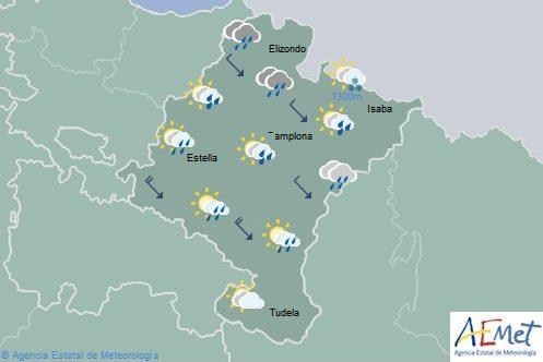 En Navarra cubierto en la mitad norte con lluvias y chubascos