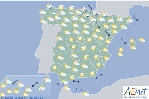 Hoy en España, nuboso con precipitaciones en el norte del País Vasco y deNavarra y noreste de Cataluña