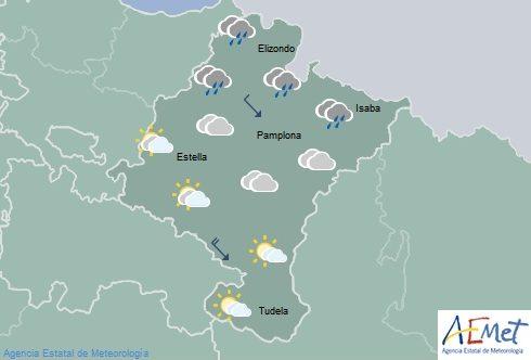 En Navarra lluvias en la Vertiente Cantábrica y temperaturas sin cambios