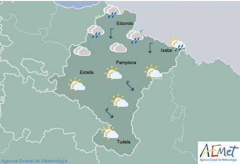 En Navarra cielos nubosos con evolución a claros al sur y temperaturas sin cambios