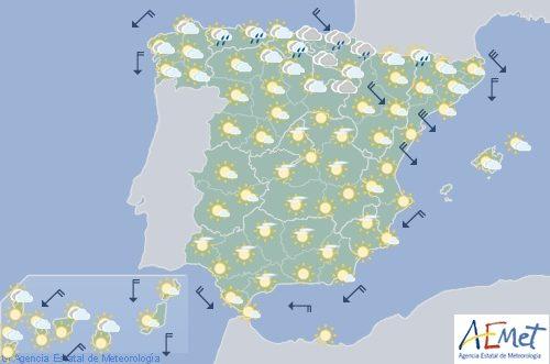 Hoy en España, intervalos de viento fuerte en Pirineos, Ampurdán y valle delEbro