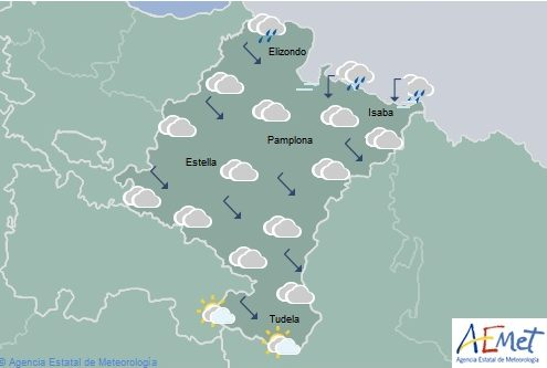 En Navarra, nuboso o cubierto con lluvias débiles en la Vertiente Cantábrica y Pirineos