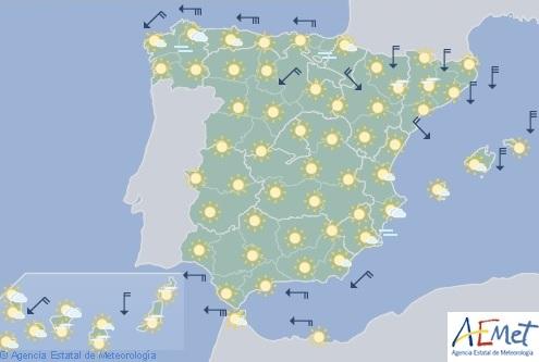 Hoy en España, viento fuerte en el Estrecho, Pirineos, valle del Ebro, Ampurdán y Menorca