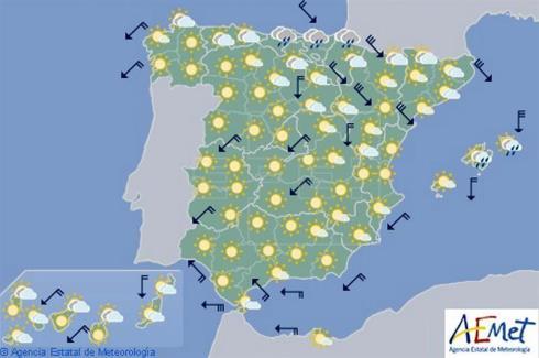 Hoy en España, ascenso de temperaturas localmente notable en el interior