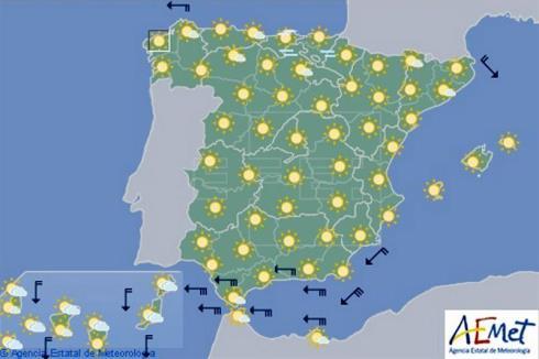 Hoy en España, temperaturas en ascenso, viento fuerte en el Estrecho