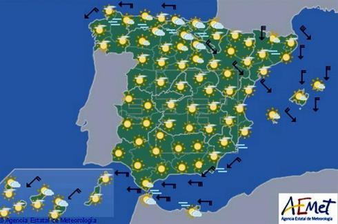 Hoy en España tiempo seco y temperaturas muy altas en la vertiente atlántica y Canarias