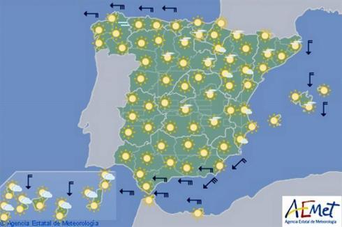 Tiempo seco y soleado en todo España
