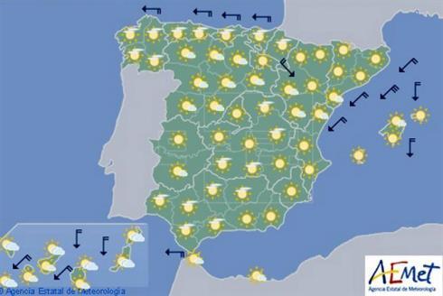Hoy en España, temperaturas diurnas en ascenso, más acusado en el sureste peninsular