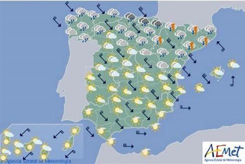 Hoy en España, descenso notable de las temperaturas especialmente en el interior