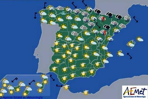 Hoy en España, chubascos en el nordeste y descenso de las temperaturas diurnas