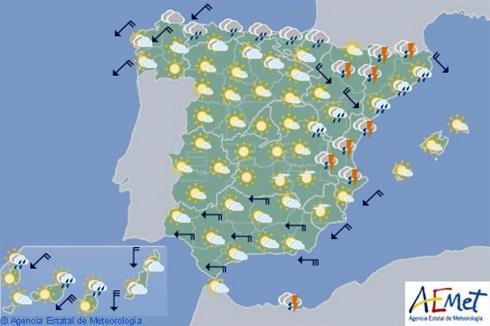 Hoy en España, bajan las temperaturas en el norte y este y lloverá en Andalucía