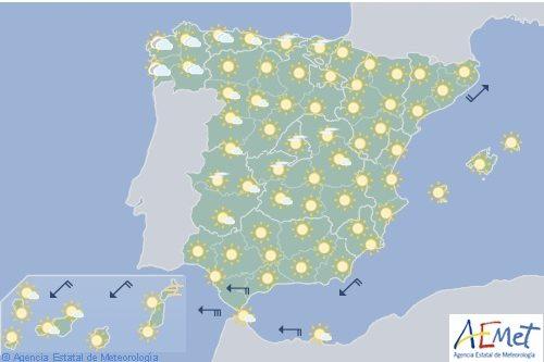 Hoy en España intervalos nubosos en Galicia y levante fuerte en el Estrecho