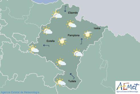 En Navarra nubes medias y altas con descenso de temperaturas máximas
