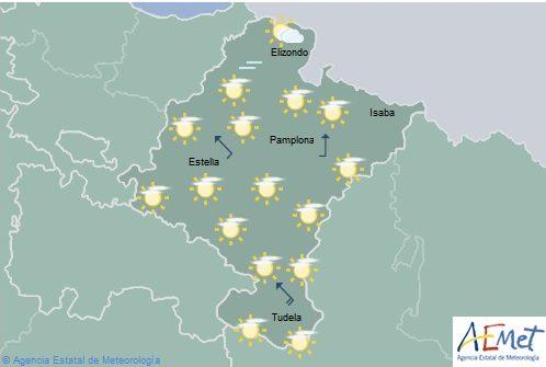 En Navarra temperaturas máximas en ligero ascenso, lluvias débiles en la mitad norte por la tarde