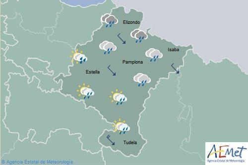 Lluvias en Navarra con temperaturas máximas en descenso extraordinario