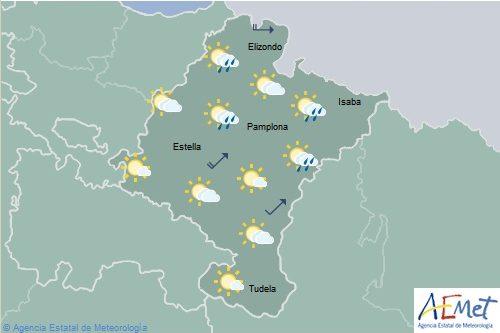 Intervalos nubosos en Navarra con temperaturas máximas en descenso