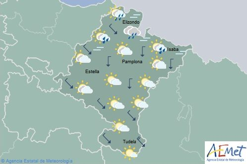 En Navarra aumento de nubosidad, lluvias ocasionales y descenso temperaturas