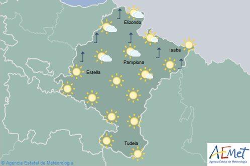 En Navarra cielo poco nuboso y temperaturas máximas en ascenso