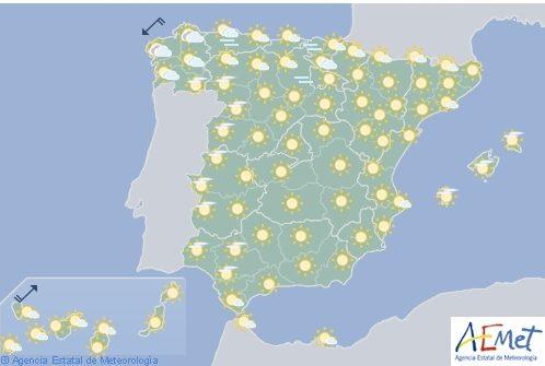 Tiempo estable en España con cielo nuboso en Galicia y Asturias
