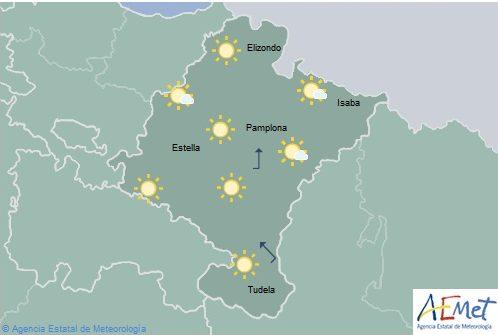 Cielo despejado en Navarra con temperaturas en aumento