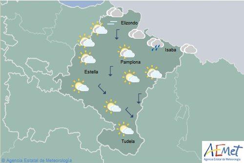 Descenso de temperaturas en Navarra con lluvias débiles en el tercio norte