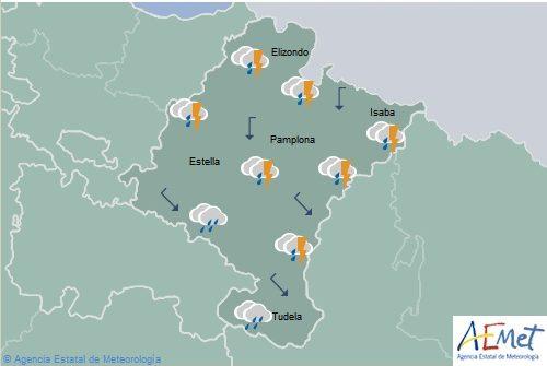 Alerta amarilla por lluvias y tormentas en Navarra