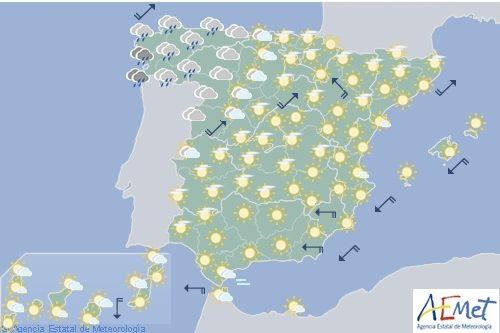 Hoy en España ascenso localmente notable de las temperaturas en el nordeste