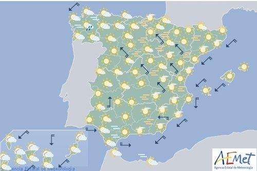 Hoy en España, temperaturas significativamente altas en el este, centro y valle del Ebro