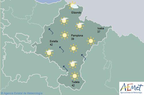 Intervalos de nubes altas en Navarra y temperaturas con pocos cambios