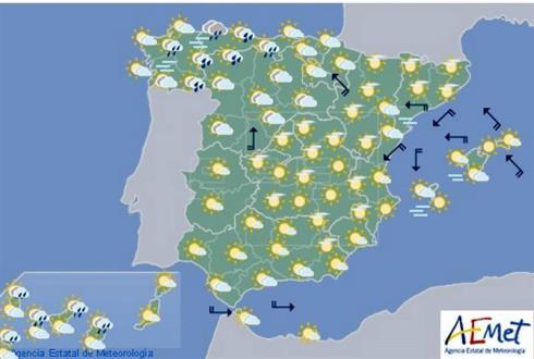 Hoy en España, cielo nuboso con chubascos con tormentas en el noroeste