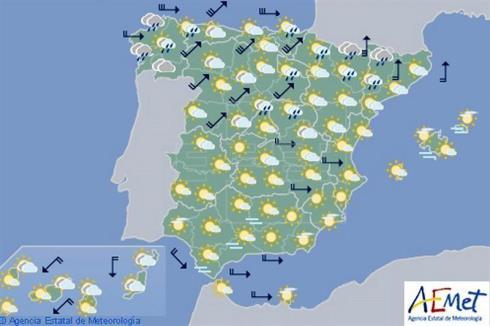 Hoy en España, viento fuerte en el litoral de Galicia, área Cantábrica y Pirineos