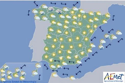 Hoy en España, precipitaciones débiles en Cantábrico y Galicia