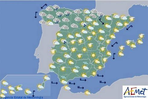 Hoy en España, viento fuerte del oeste y descenso térmico sur litoral mediterráneo