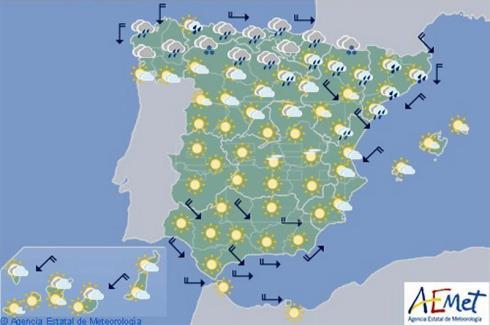 Hoy en España, lluvias en Cantábrico y Cataluña, y general descenso de temperaturas