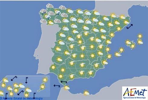 Hoy en España, lluvias débiles y descenso de temperaturas en el noroeste