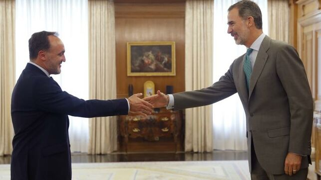 El rey cierra la tanda matinal de consultas con el presidente de UPN