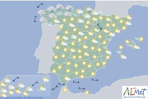 Hoy en España lloviznas en el Cantábrico y temperaturas tendentes a descender