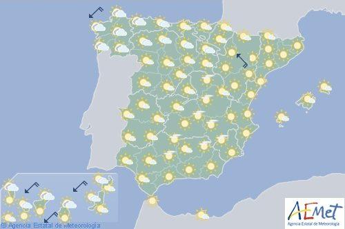 Hoy en España, tormentas en el noroeste con temperaturas altas en Mallorca, Cataluá y Valle del Ebro