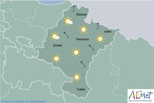 Poco nuboso en Navarra y temperaturas con cambios ligeros