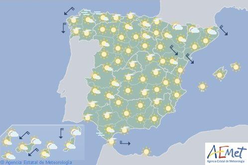 Aumento de temperaturas en gran parte de España