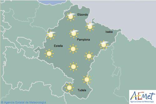 Poco nuboso o despejado en Navarra con temperaturas máximas en aumento