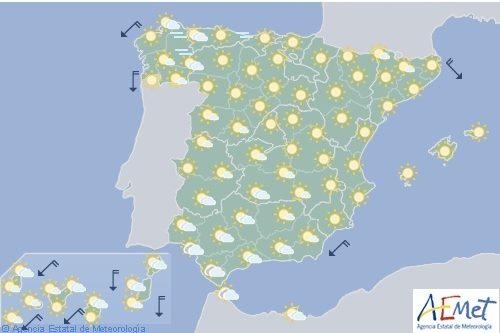 Hoy en España, temperaturas significativamente altas en el interior y Baleares