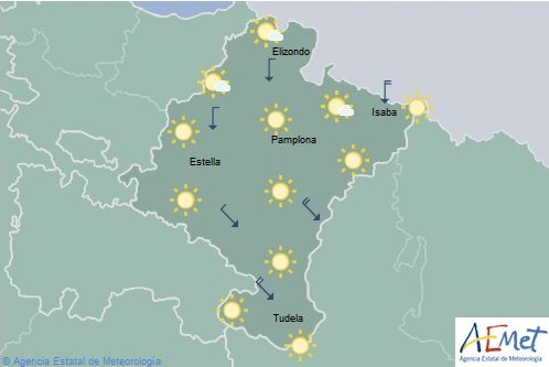 Cielo poco nuboso en Navarra y temperaturas máximas sin cambios