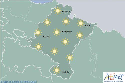 En Navarra cielo poco nuboso o despejado con máximas en notable ascenso