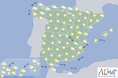 Hoy en España, temperaturas altas en el interior, viento fuerte en el Estrecho y litoral de Almería