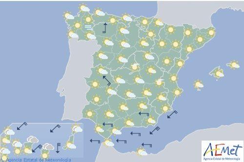 Hoy en España temperaturas altas en el interior y en Baleares, posibles tormentas en el centro y norte