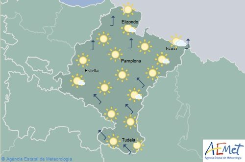 Temperaturas mínimas y máximas en aumento con nubosidad de evolución en Navarra